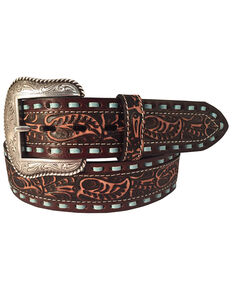 Roper Men's Leather Turquoise Lacing Tooled Belt  , Brown, hi-res