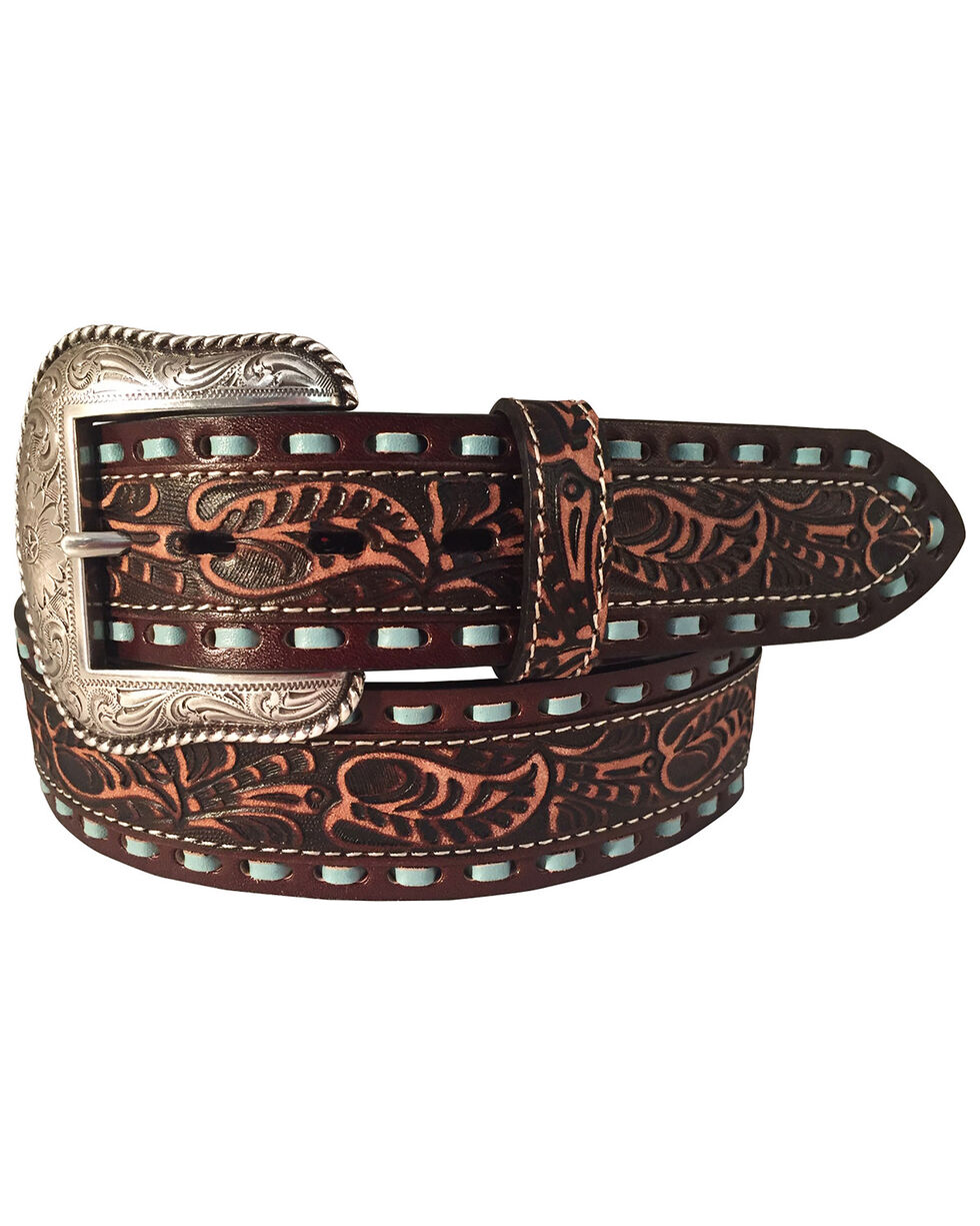 Roper Men's Leather Turquoise Lacing Tooled Belt  , Brown, hi-res