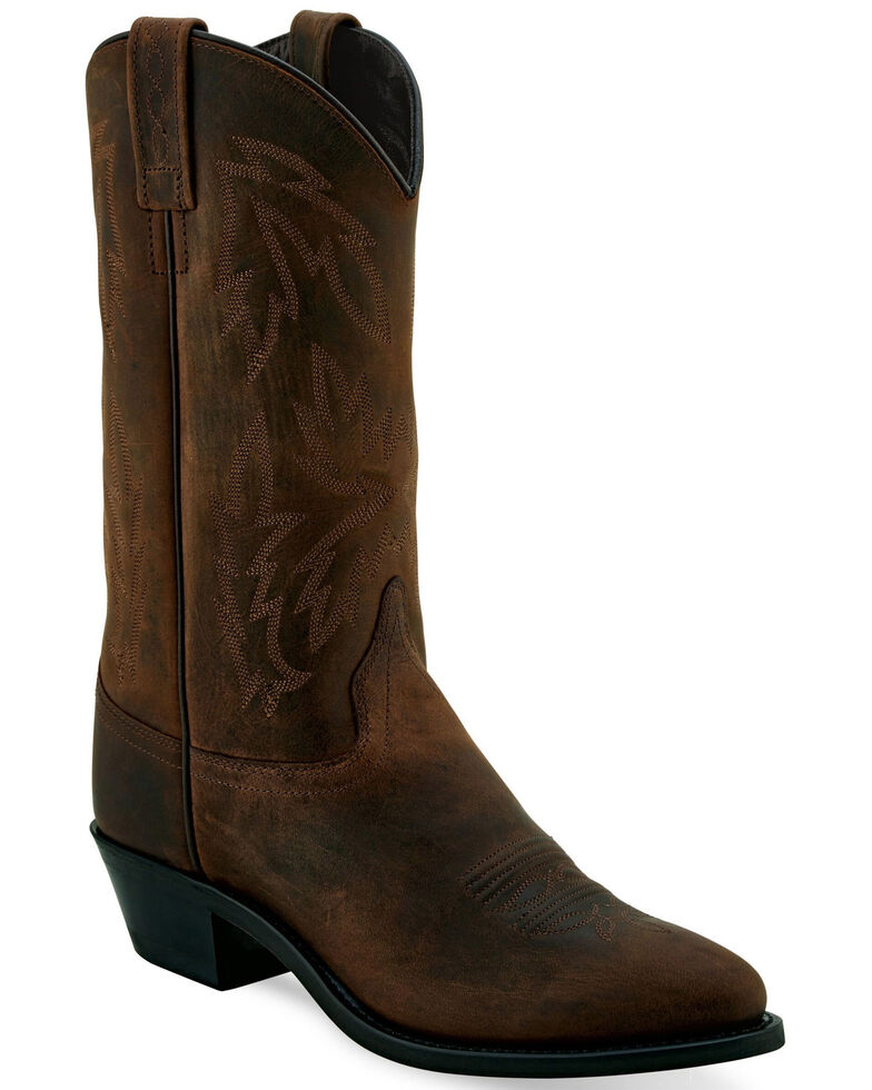 Old West Men's Polanil Western Boots - Round Toe, Brown, hi-res