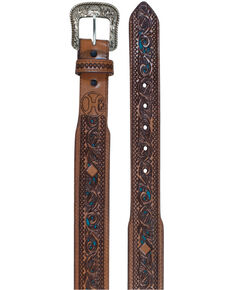 Trenditions Men's Hooey Scroll Belt, Brown, hi-res