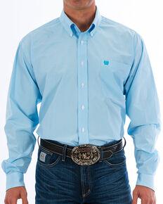 Cinch Men's Light Blue Striped Print Shirt - Big & Tall, Light Blue, hi-res