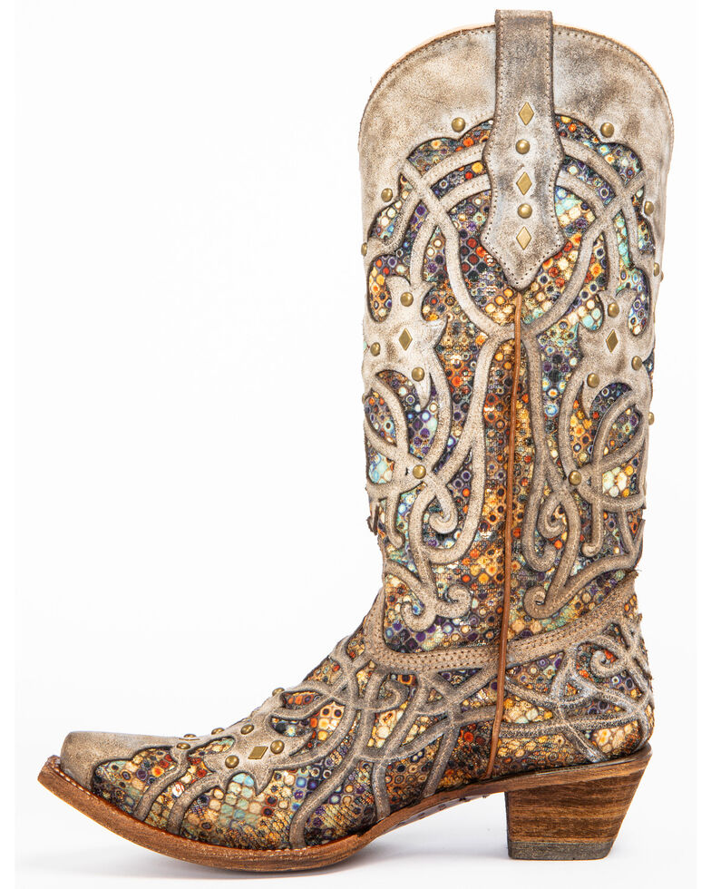 Corral Women's Taupe Inlay Western Boots - Snip Toe, Taupe, hi-res