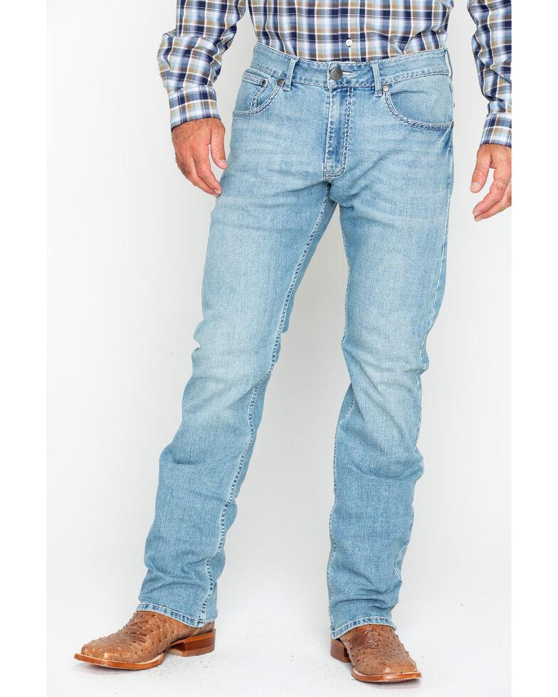 Rock 47 by Wrangler Men's Baritone Light Wash Slim Straight Jeans, Light Blue, hi-res