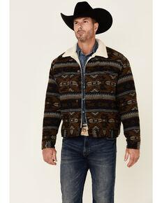 Wrangler Men's Brown Whiskey Jacquard Aztec Print Button-Front Sherpa Jacket , Brown, hi-res