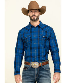 Cody James Men's Skedaddle Plaid Long Sleeve Western Shirt , Royal Blue, hi-res