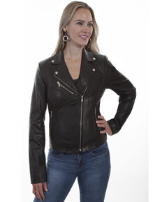 Leatherwear by Scully Women's Butterscotch Suede Motorcycle Jacket, Black, hi-res
