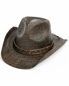 Cody James Men's Wilder Western Straw Hat , Brown, hi-res