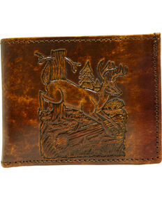 Western Express Men's Brown Leather Deer Billfold *DISCONTINUED*, Brown, hi-res