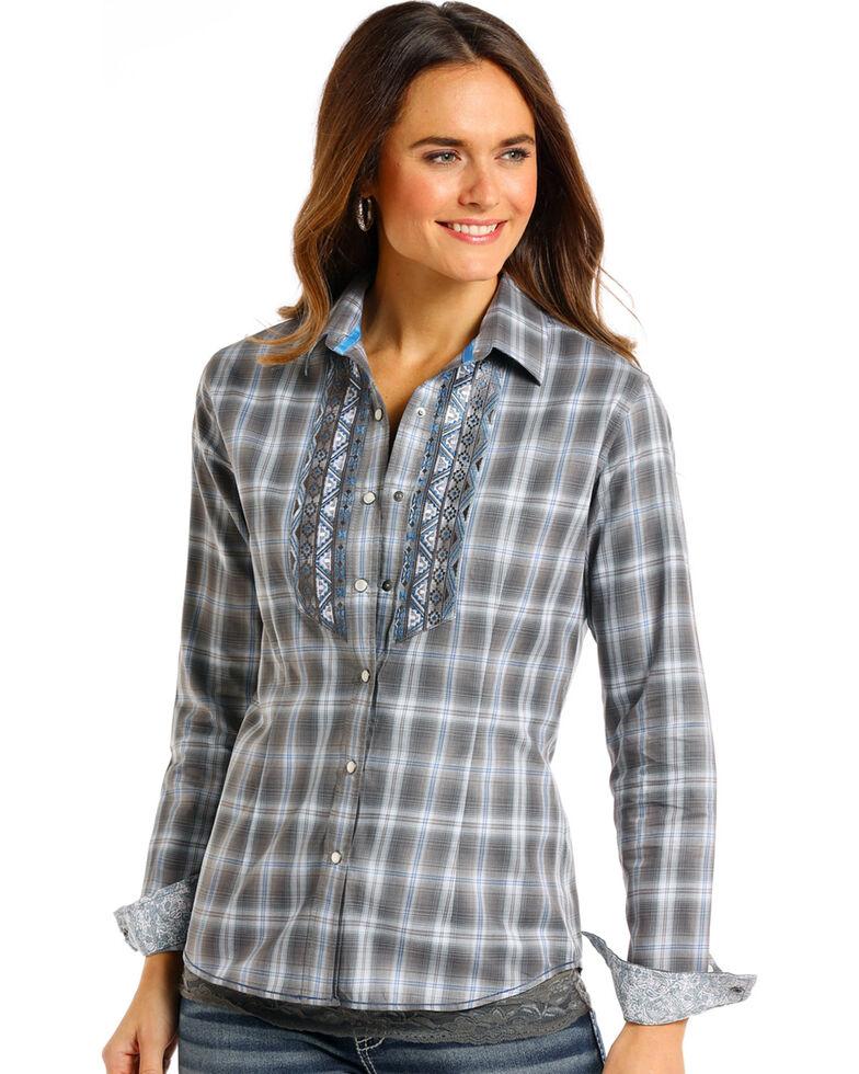 Rough Stock by Panhandle Women's Logan Vintage Ombre Plaid Shirt, Grey, hi-res