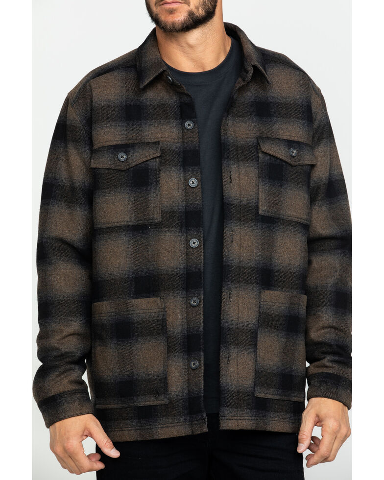 Moonshine Spirit Men's Wylder Wool Ombre Plaid Pea Coat , Brown/blue, hi-res
