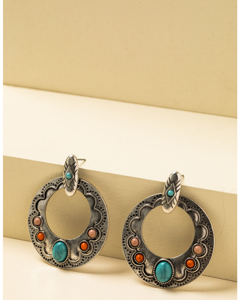 Shyanne Women's In The Oasis Antique Silver Stone Hoop Earrings , , hi-res