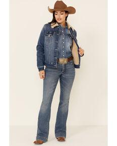 Shyanne Life Women's Albuquerque Medium Wash Lined Button-Down Sherpa Denim Jacket , Medium Blue, hi-res