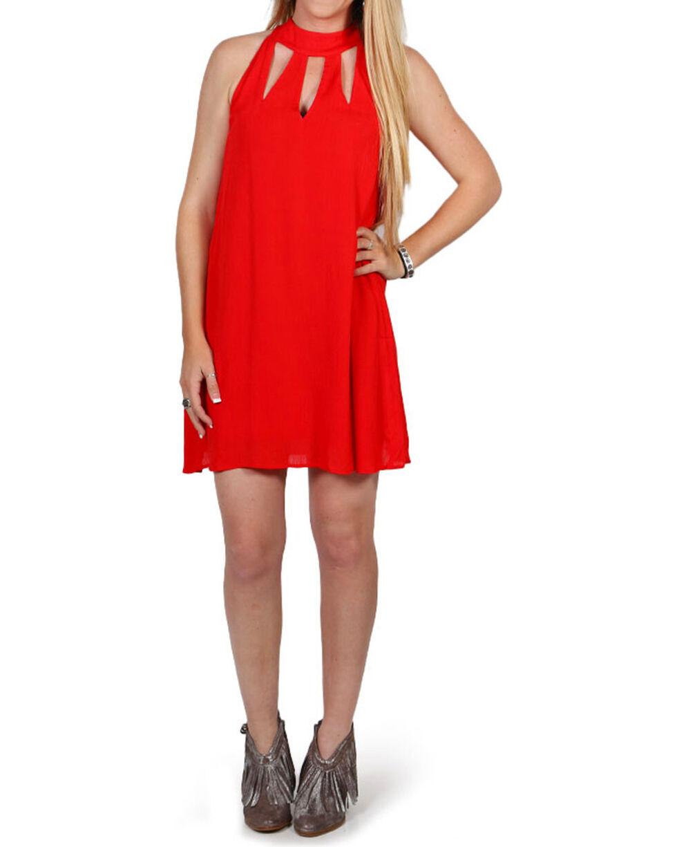 Hyfve Women's Red Choker Teardrop Dress , Red, hi-res