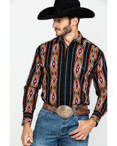 Wrangler Men's Aztec Checotah Stripe Long Sleeve Western Shirt , Red, hi-res