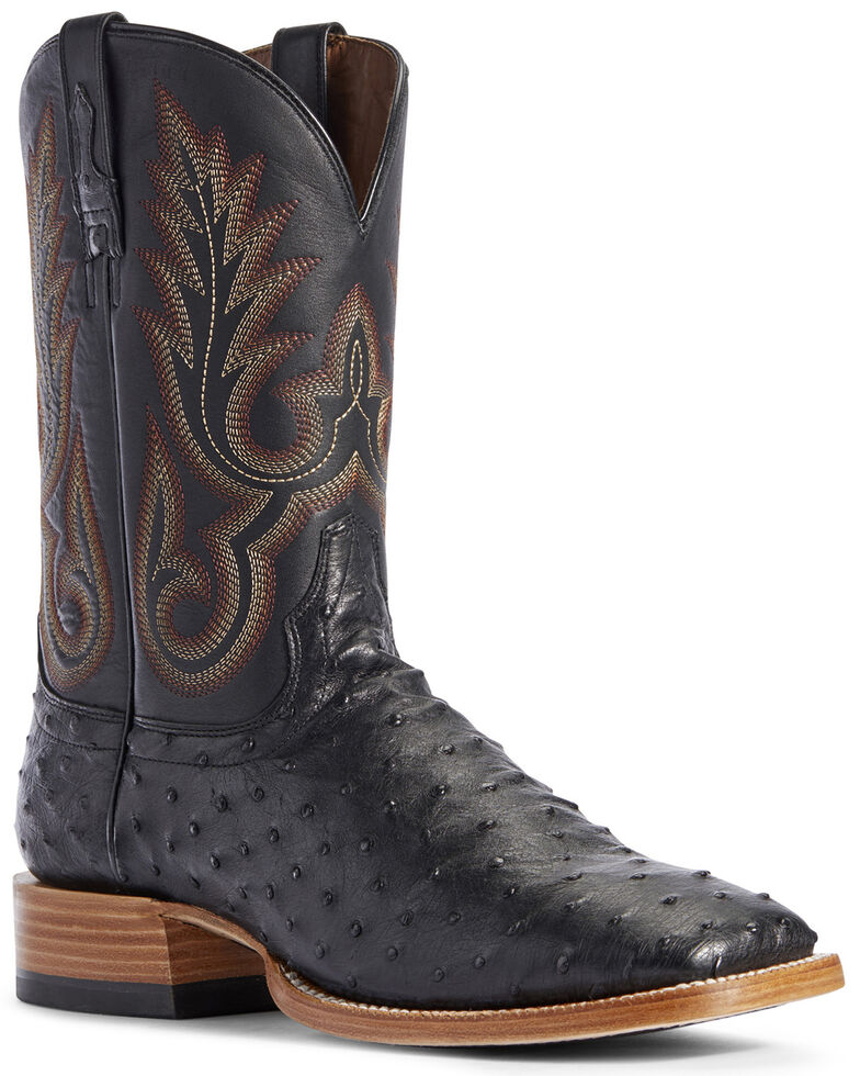 Ariat Men's Barker Full-Quill Ostrich Western Boots - Wide Square Toe, Black, hi-res