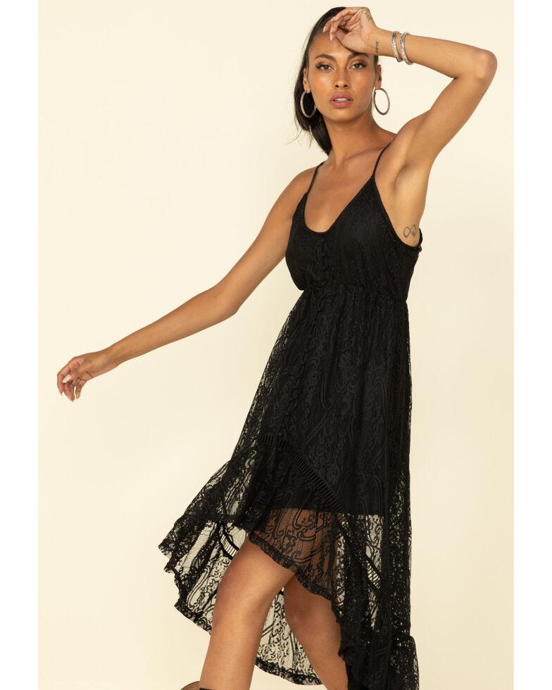 Shyanne Women's Black Lace Sleeveless Maxi Dress , Black, hi-res