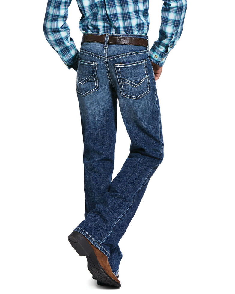 Ariat Boys' B4 Wave Stretch Relaxed Bootcut Jeans , Blue, hi-res