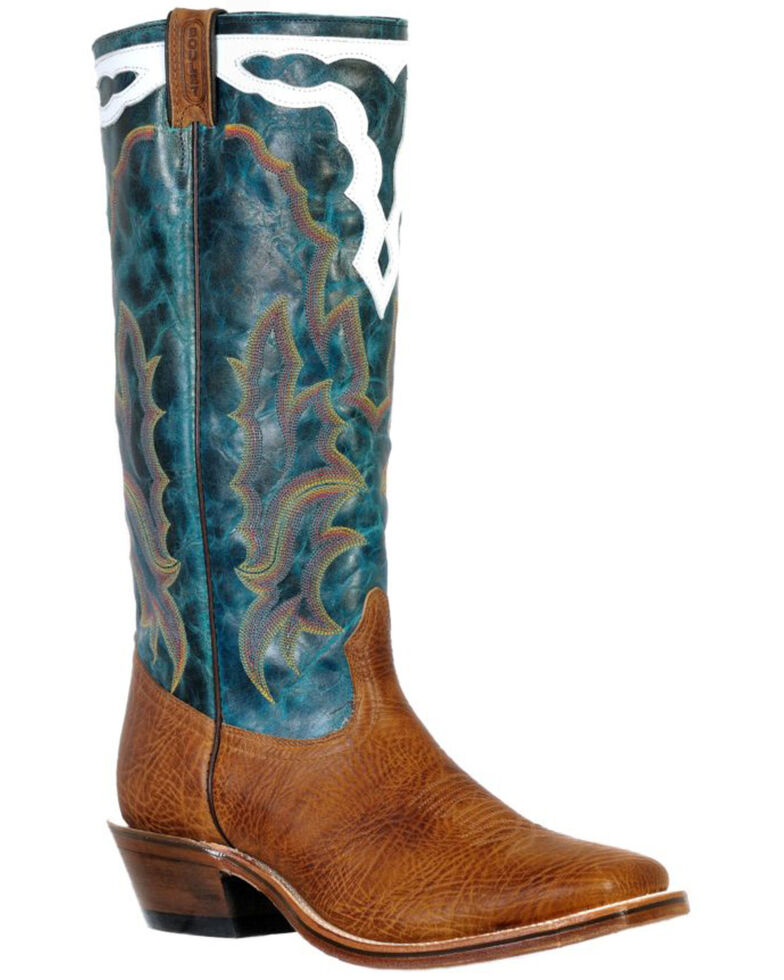 Boulet Men's Old Town Yellow Western Boots - Wide Square Toe, Brown, hi-res