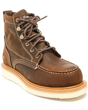Hawx® Men's Grade Moc Distressed Wedge Work Boots - Composite Toe, Distressed Brown, hi-res