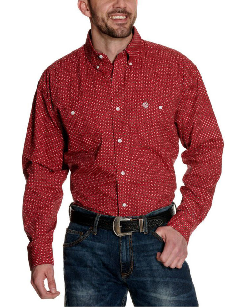 George Strait By Wrangler Men's Red Diamond Geo Print Long Sleeve Western Shirt - Tall , Red, hi-res