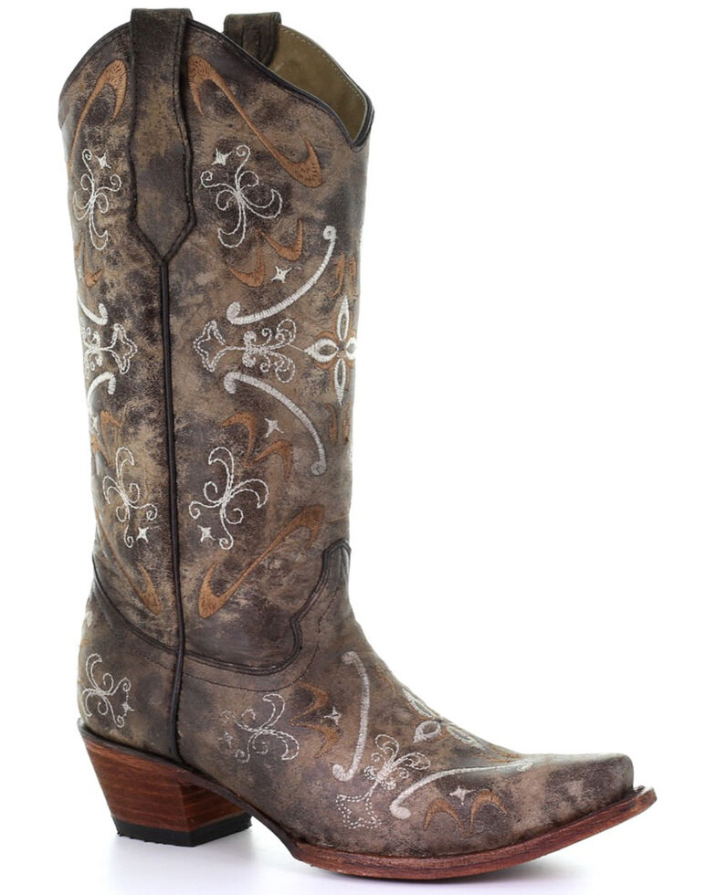 Circle G by Corral Women's Natural Embroidery Western Boots - Snip Toe, Natural, hi-res
