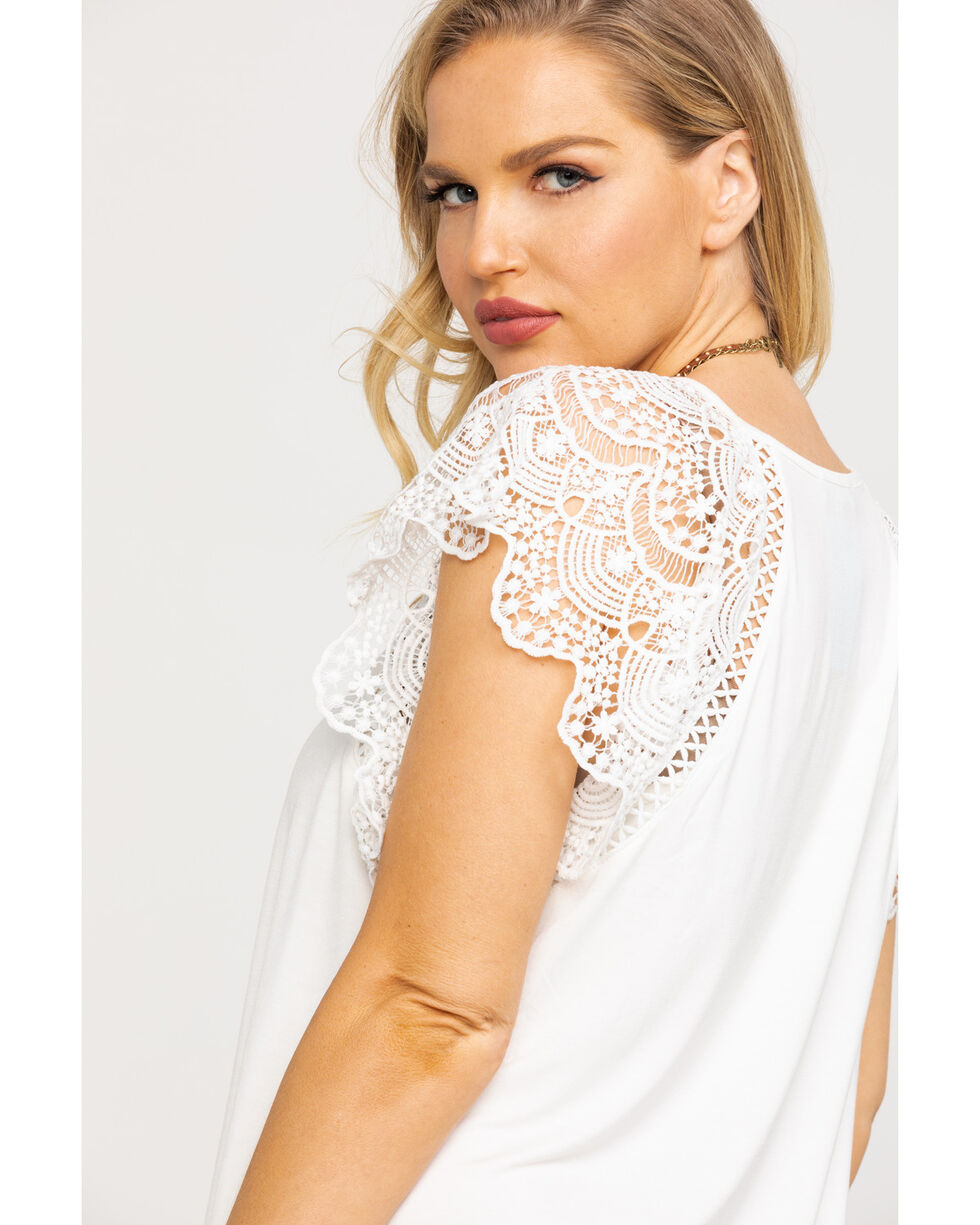 Miss Me Women's White Lace Short Sleeve Top, White, hi-res