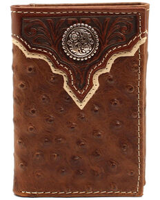 Cody James Men's Overlay Scroll Concho Trifold Wallet, Dark Brown, hi-res