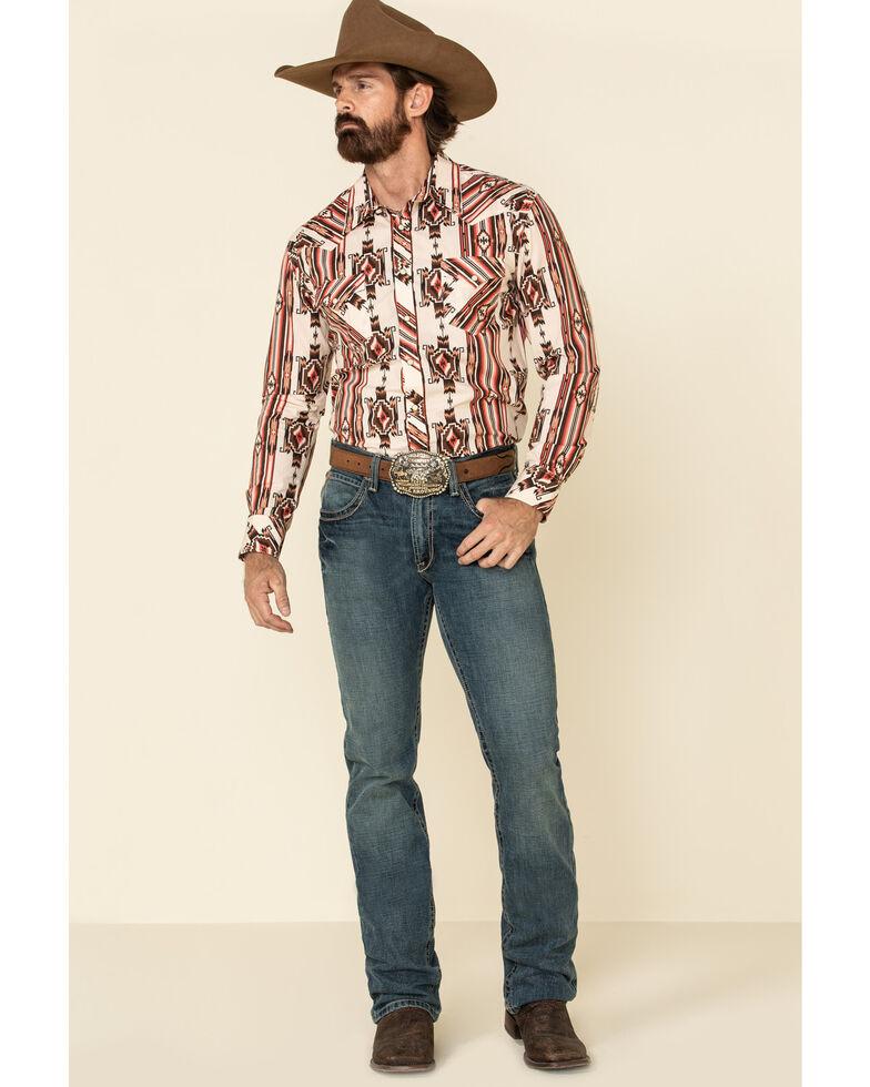 Rock & Roll Denim Men's Brown Aztec Striped Long Sleeve Western Shirt , Brown, hi-res