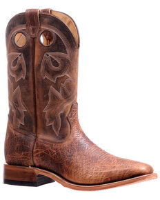 Boulet Men's Embroidered Western Boots - Wide Square Toe, Brown, hi-res