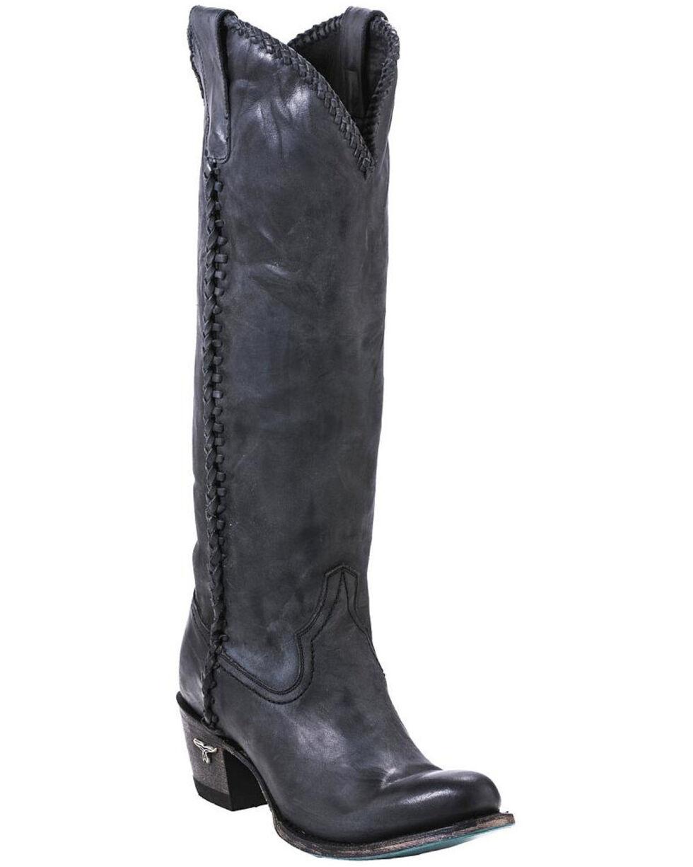 Lane Plain Jane Charcoal Cowgirl Boots - Round Toe , Black, hi-res