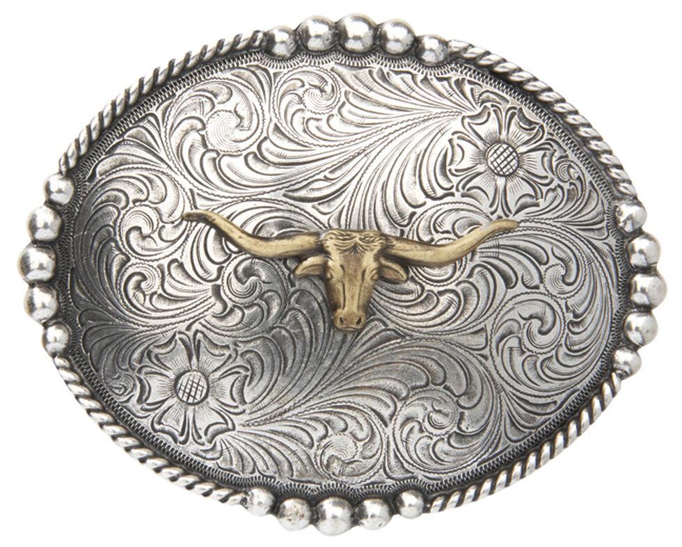 AndWest Men's Brass Longhorn Oval Belt Buckle, Multi, hi-res