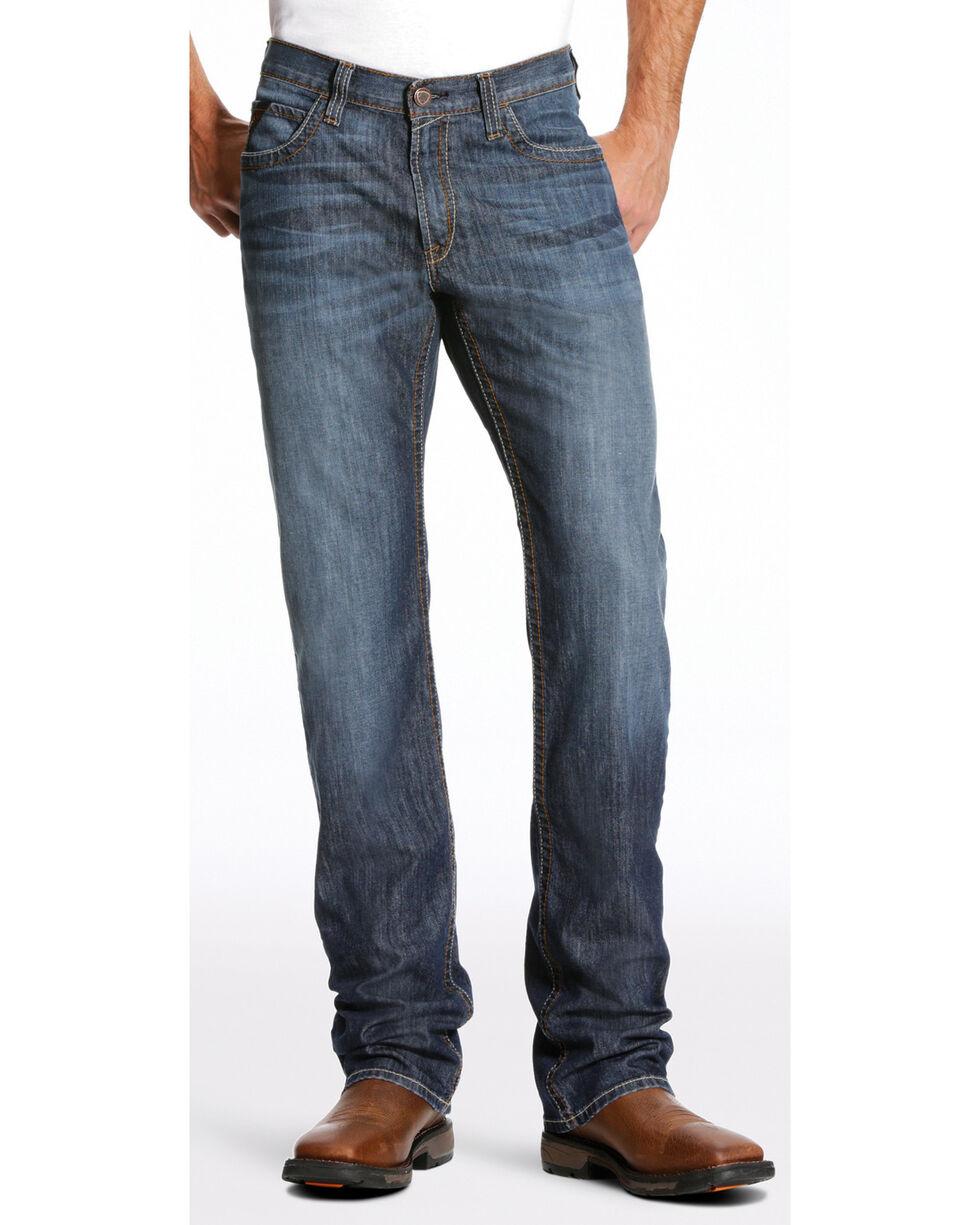 Ariat Men's FR M4 Inherent Basic Low Rise Jeans - Boot Cut, Dark Blue, hi-res