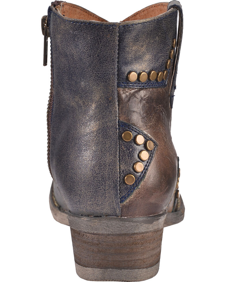 Circle G Women's Studded Star Inlay Booties - Round Toe, Blue, hi-res