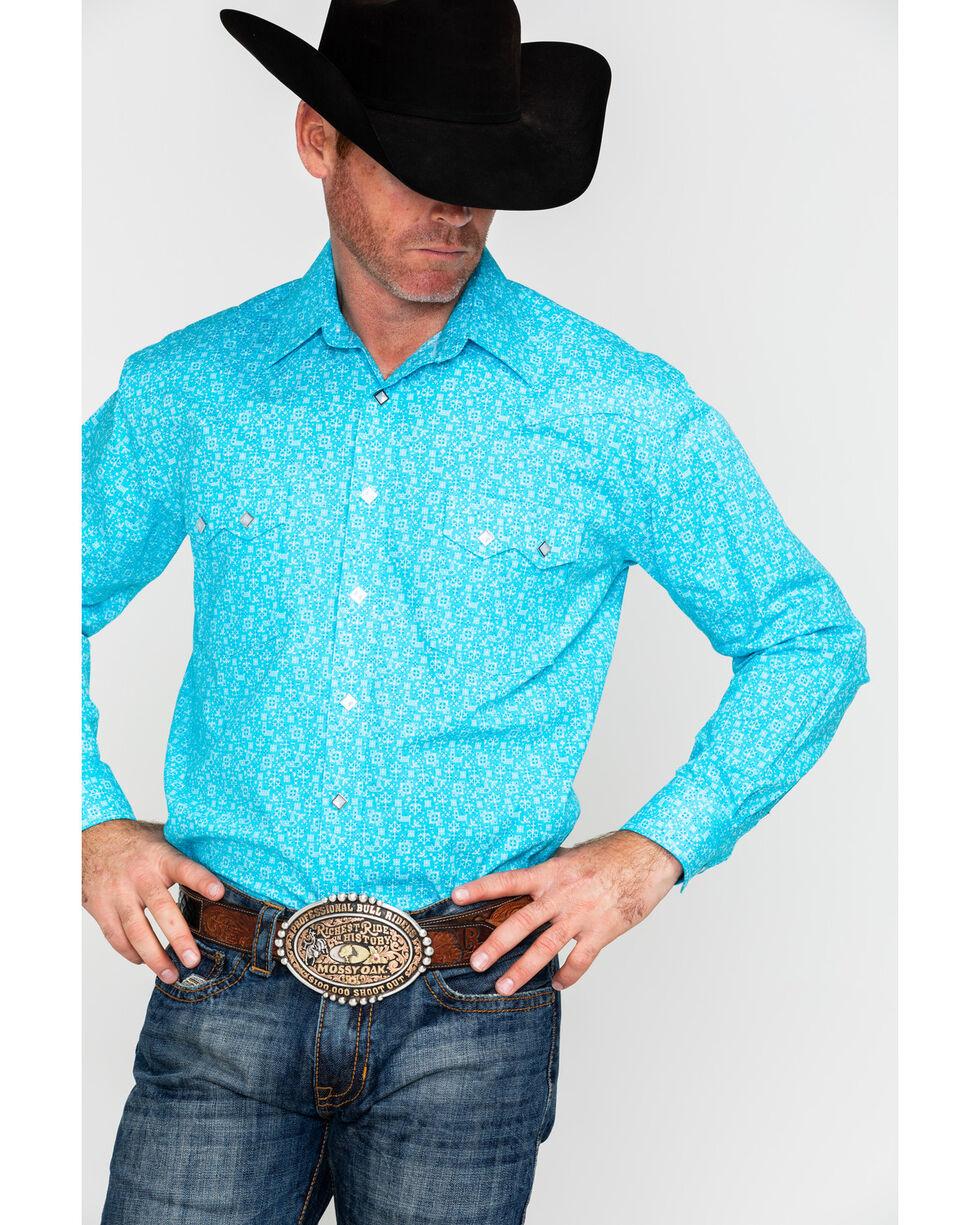 Panhandle Men's Rough Stock Portero Antique Print Long Sleeve Western Shirt , Blue, hi-res