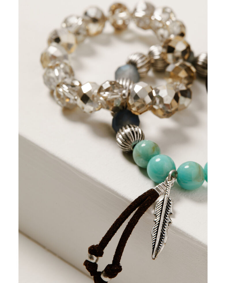 Shyanne Women's Mystic Summer Thunderbird Beaded Stretch Bracelet Set, Silver, hi-res