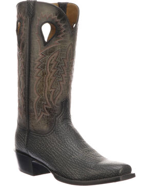 Lucchese Men's Handmade Bates Black Shark Pull Hole Western Boots - Snip Toe, Black, hi-res