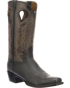 Lucchese Men's Handmade Bates Black Shark Pull Hole Western Boots - Snip Toe, Black, hi-res