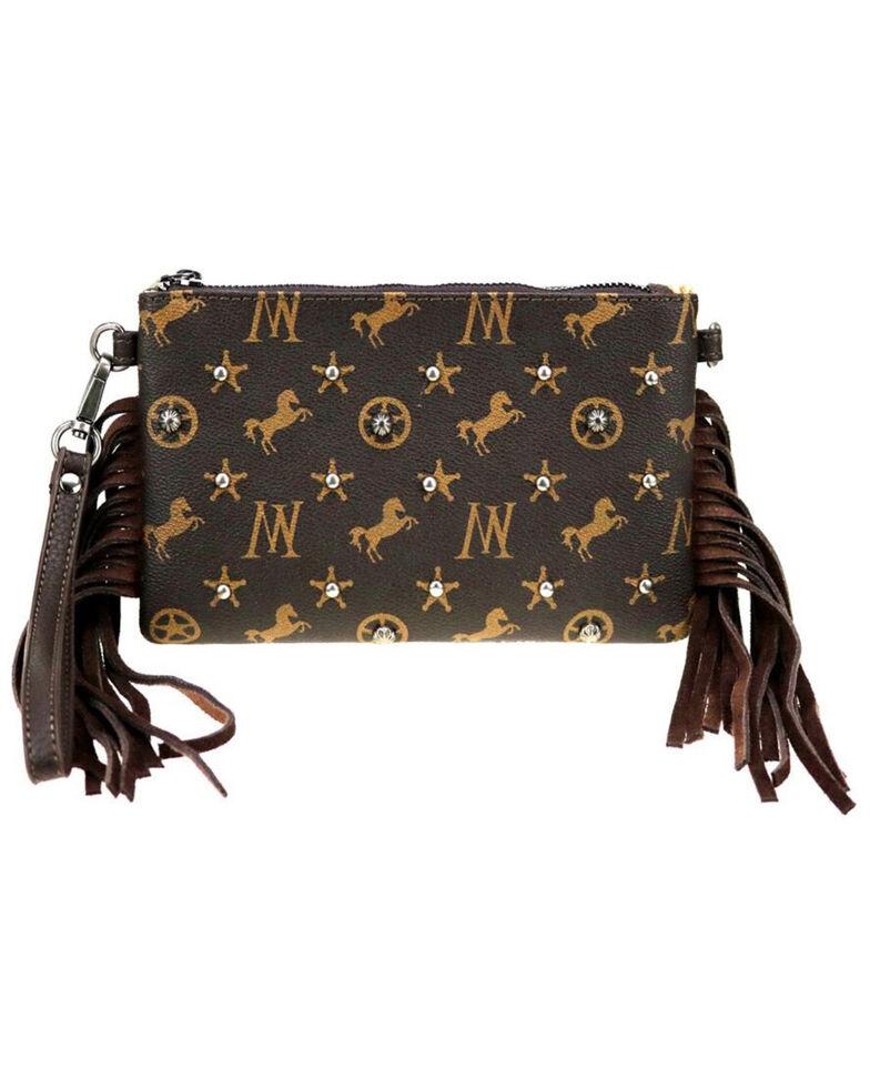 Montana West Women's Signature Monogram Collection Clutch Crossbody Bag , Coffee, hi-res