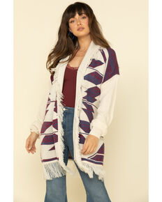 Wrangler Retro Women's Ivory & Purple Aztec Fringe Sweater Cardigan, Ivory, hi-res