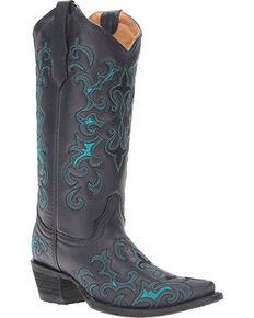 Circle G Women's Black Fleur De Lis Boots - Snip Toe , Black, hi-res