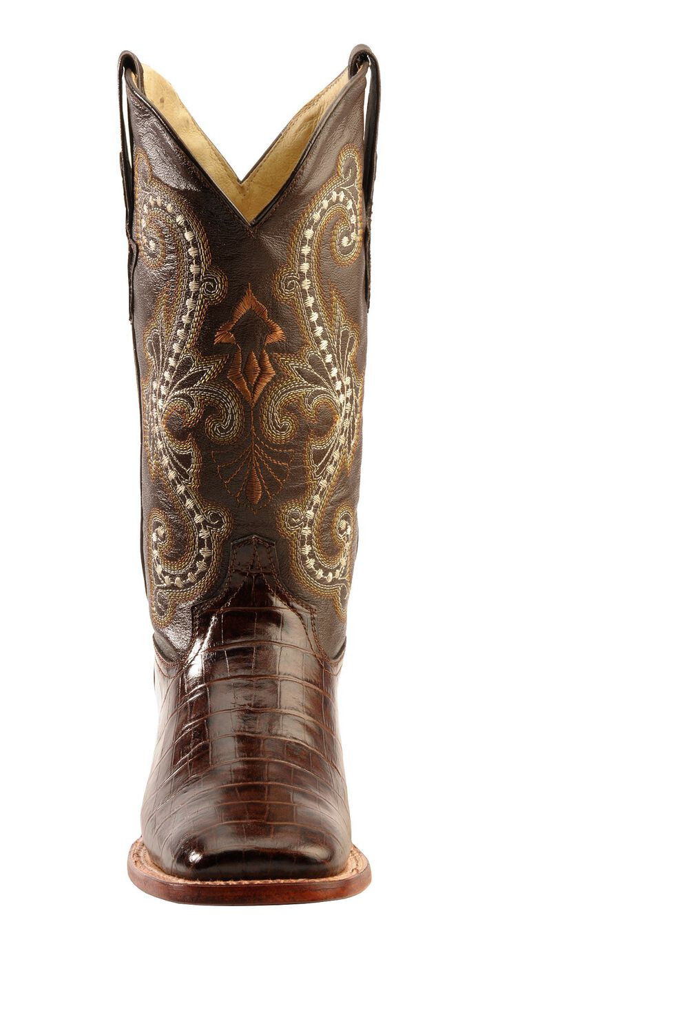 Ferrini Chocolate Alligator Belly Print Cowgirl Boots - Wide Square Toe, Chocolate, hi-res