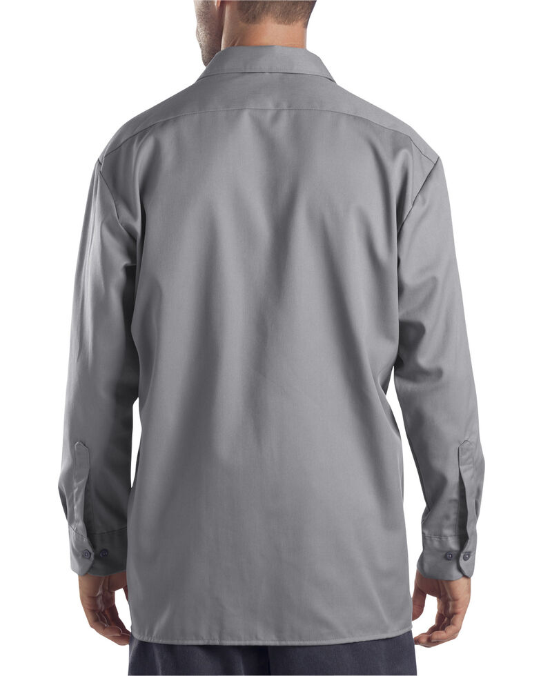 Dickies Men's Solid Twill Button Long Sleeve Work Shirt, Silver, hi-res