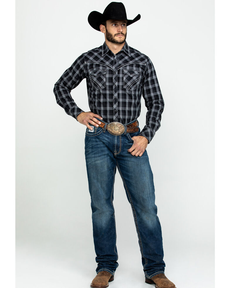 Rock 47 by Wrangler Men's Grey Plaid Long Sleeve Western Shirt , Grey, hi-res