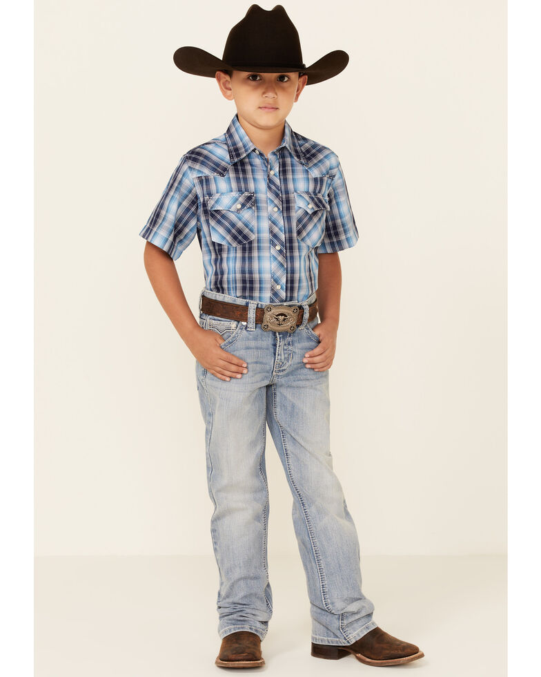 Wrangler Boys' Navy Plaid Short Sleeve Snap Western Shirt , Blue, hi-res