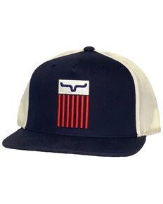 Kimes Ranch Men's Navy Cody 3D Embroidered Flag Logo Mesh-Back Trucker Cap , Navy, hi-res