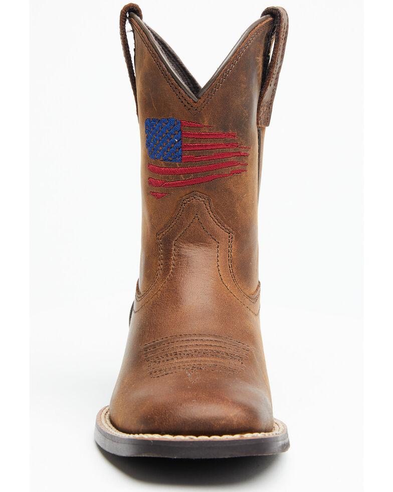 Ariat Boys' American Pride Western Boots - Square Toe, Brown, hi-res