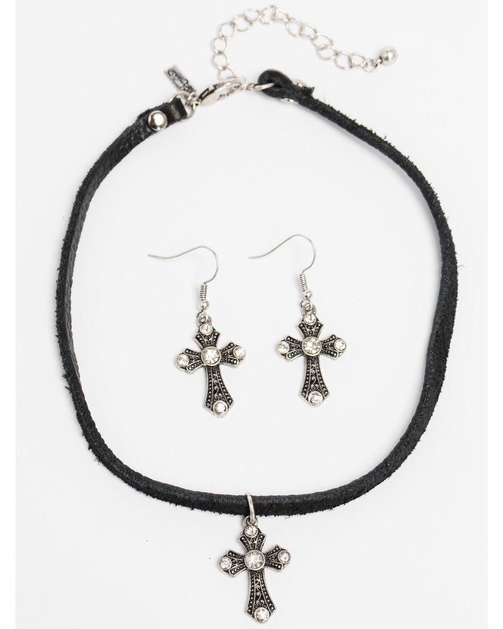 Shyanne Women's Crystal Cross Black Corded Cross Necklace Set, Black, hi-res