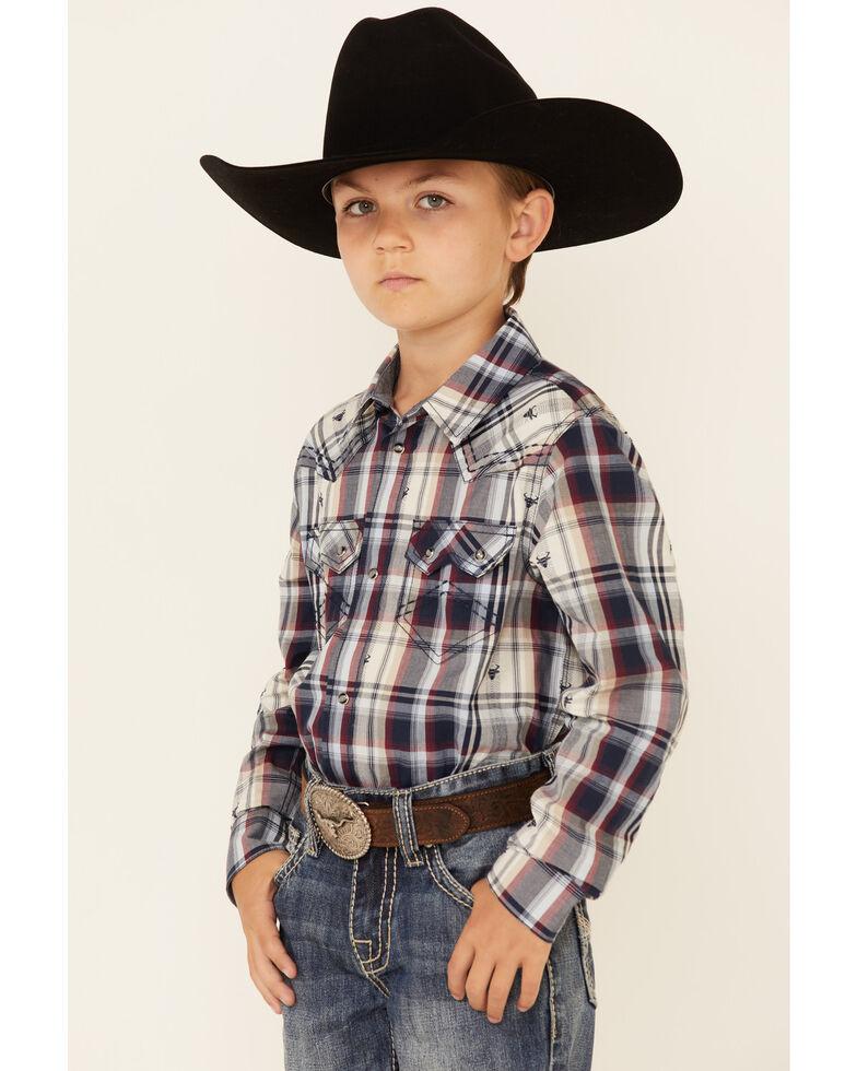Cody James Boys' Bull Dobby Plaid Long Sleeve Snap Western Shirt , Navy, hi-res