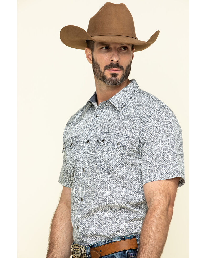 Cody James Men's Chevron Floral Print Short Sleeve Western Shirt - Big , White, hi-res