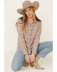 United By Blue Women's Dark Olive Plaid Long Sleeve Western Flannel Shirt , Grey, hi-res